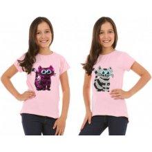 Tričko měnící flitry kočka světle růžové