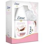 Dove Coconut sprchový gel 250 ml + toaletní mýdlo 100 g + žínka dárková sada