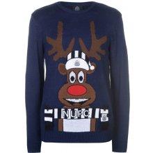 Dreamstock Select Pánský vánoční svetr s jelenem NUFC Modrý