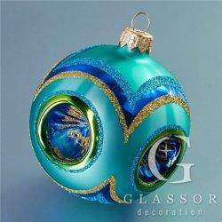 Skleněné vánoční ozdoby - koule tyrkysová, píchaná