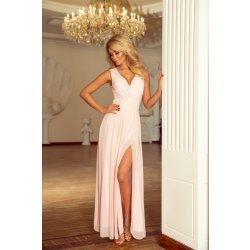 678fdf11742a Numoco luxusní dámské společenské a plesové šifonové šaty dlouhé broskvová