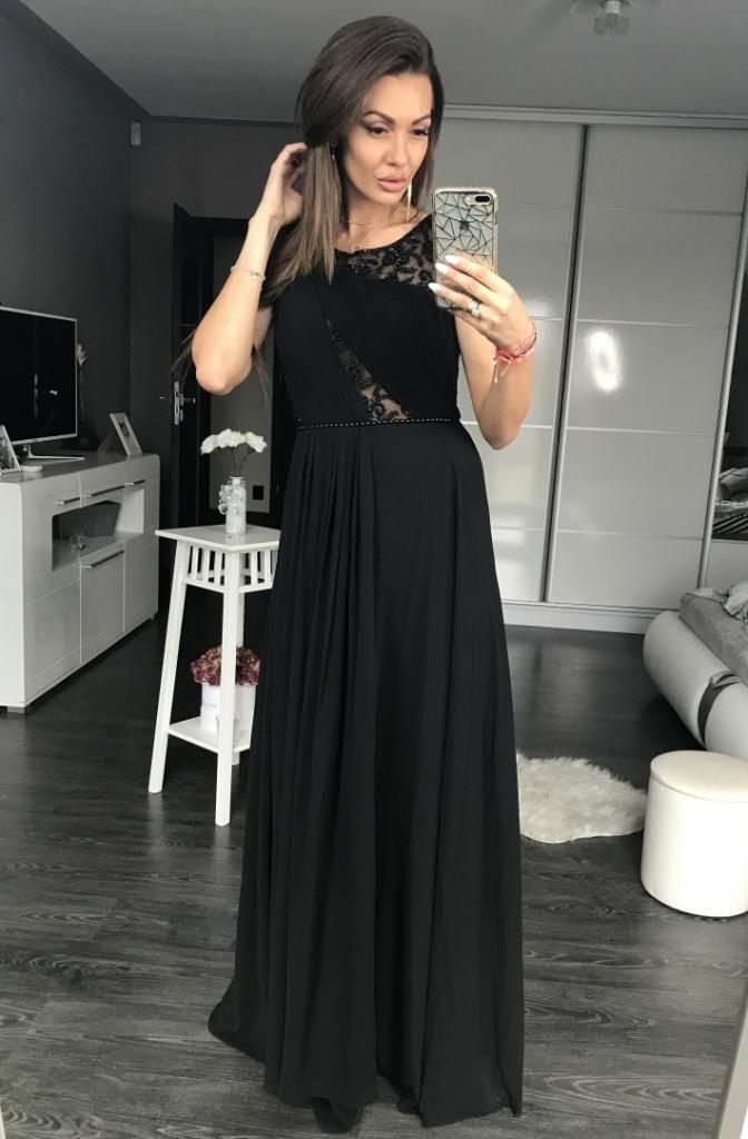 d31a905c6ca8 Eva   Lola dámské společenské a plesové dlouhé šaty s perličkami černá od 2  009 Kč - Heureka.cz