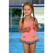 LORIN dětské dívčí plavky jednodílné lososové s volánkem
