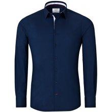 Vincenzo Boretti Tmavě modrá pánská košile s bílými doplňky e73a9c984b