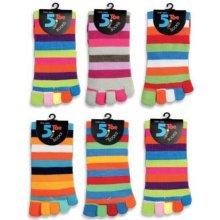Barevné prstové ponožky PRUHY mix barev