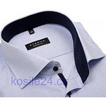 Eterna Comfort Fit košile s modrým vetkaným vzorem a vnitřním límcem prodloužený rukáv