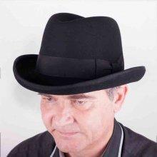 Assante Černý pánský tvrdý klobouk Homburg 85029 05bc871590