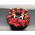 Eoshop Adventní věnec přírodní v červené barvě - 4 svíčka
