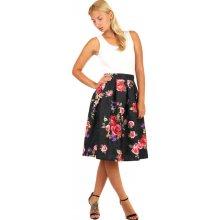 f6bc21d16bdb Glara áčková půl kolová sukně s květinovým potiskem černá 245652