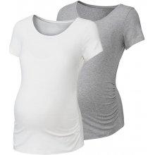 Esmara těhotenské triko Bio 2 kusy bílá/šedá