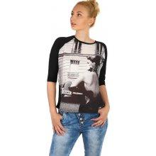 Glara Dámské tričko s potiskem 220729 černá 0a737eef38