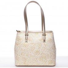 módní kožená kabelka se vzory Tatum zlato-béžová a42ec350ea