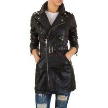 Dámský dlouhý koženkový kabát na podzim Černý