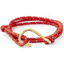Trendhim červeno-zlatý náramek Rybářský háček XH-FHG2-004