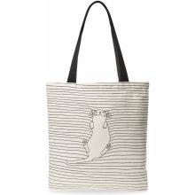 278b5953cc Plátěná dámská kabelka shopper bag vzor kočka bílá