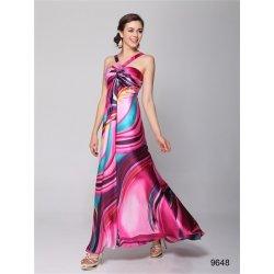 966428e0abd2 Růžové letní společenské saténové dlouhé maxi šaty na svatbu se vzorem