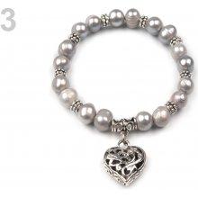 Náramek pružný z perel 3 šedá perleť
