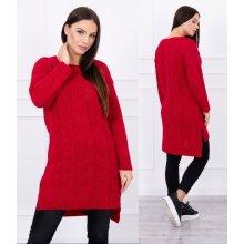 33951275bdc Kesi Dámský dlouhý pletený svetr Tanzy červený