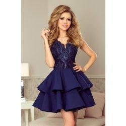 409daa95994f Numoco koktejlové krátké šaty s dvojitou sukní modrá plesové šaty ...