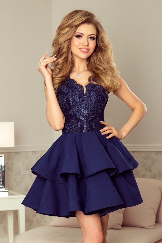f67c44f70596 Plesové šaty Numoco koktejlové krátké šaty s dvojitou sukní modrá ...