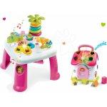 Smoby Didaktický stolík Cotoons s funkciami ružová +domček vkladací so svetlom a zvukmi ružová