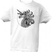 T shock tričko s potiskem Jednorožec dětské bílá