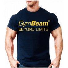 GymBeam Tričko Beyond Limits Dark Blue Gold