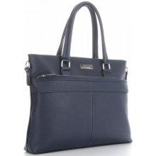 44acf019a741 Vittoria Gotti klasické kožené kabelky dámská Aktovka Made in Italy Tmavě  Modrá