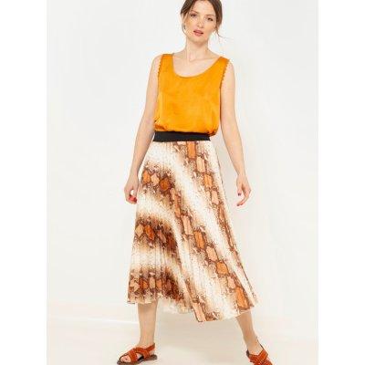 Camaieu vzorovaná plisovaná sukně krémovo-hnědá