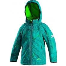Lizard dětská softshellová bunda odnímatelná kapuce šedo-zelená