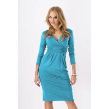dámské šaty 6801 zdobené řasením 3/4 rukáv vhodné i pro těhotné středně dlouhé tyrkysové