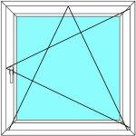 Plastové okno Aluplast Maco Otevírací a Sklopné Ideal 4000 - Multi-Trend Bílá - Bílá 60x120