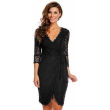 2e329f39840 MAYAADI společenské a plesové šaty Deluxe krajkové falešně zavinovací černá