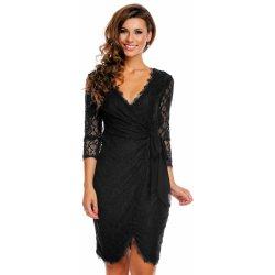 MAYAADI společenské a plesové šaty Deluxe krajkové falešně zavinovací černá f17fd66170