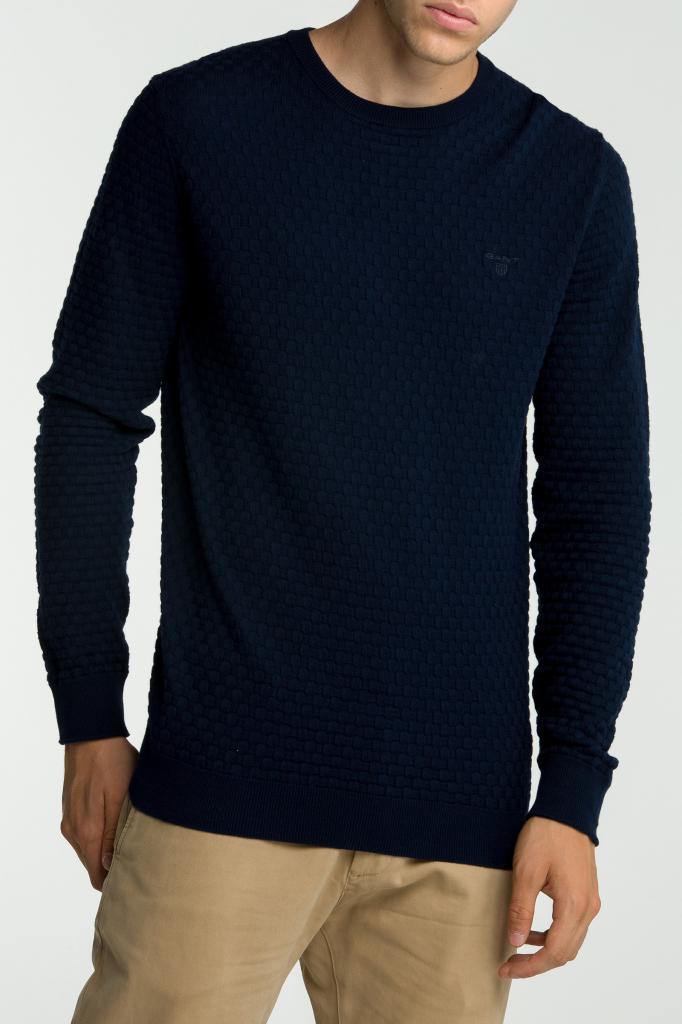 Gant Pánský svetr O1. COTTON TEXTURE CREW modrá M od 2 799 Kč - Heureka.cz 20b91b0e0a
