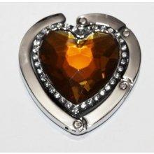 Háček na kabelku - Jantar Heart s krystaly