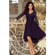Numoco šaty s asymetrickou sukní a krajkovým topem 210-2 modrá 98997a4145