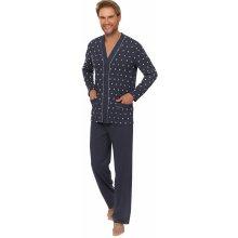 Bavlněné pánské pyžamo Senator modré