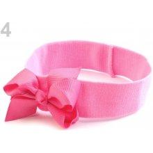 Dětská elastická čelenka s mašlí Růžová