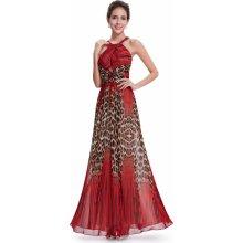 Dlouhé společenské šaty se zvířecím vzorem červená cac3f989238