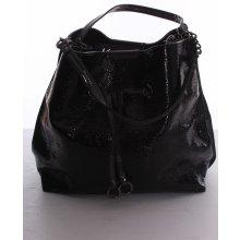 dámská kabelka lesklá s ozdobou SR3188 černá 4a7f95498b9
