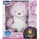 Chicco Medvídek růžový s noční lampičkou a melodiemi