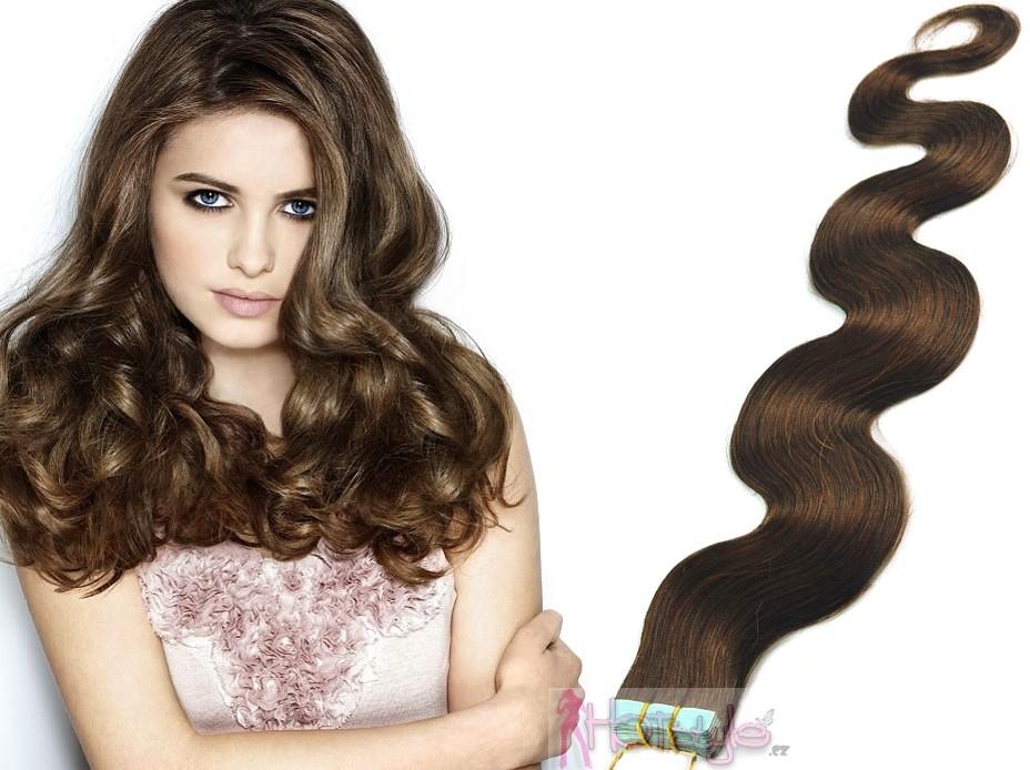 HOTstyle 60cm Tape hair   pu extension   Tape IN lidské vlasy remy vlnité –  středně hnědá od 3 699 Kč - Heureka.cz 28da5e31912
