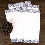 """Svět pásek Dopisní papír """"Modrý folklor"""" 10ks, 18,5x26cm (DOPISNI0047)"""