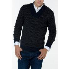 Gant Pánský svetr O1. HERRINGBONE WRAP COLLAR modrá M