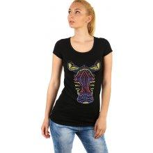 Glara Dámské dlouhé tričko s potiskem zebry 220713 černá fc89af54c9