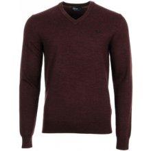 Fred Perry Svetry Classic V Neck Sweater Červená