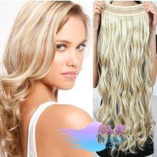 Vlnitý clip in pás 60cm 100% lidské vlasy - platina/světle hnědá