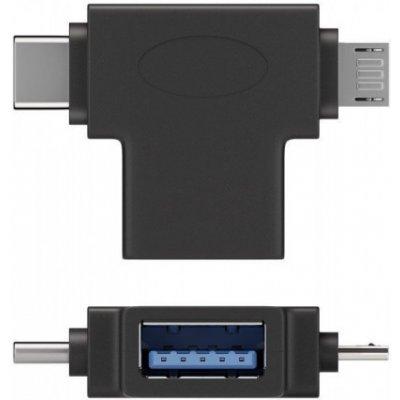 PremiumCord Adaptér USB-A na USB-C + micro USB-B, kur31-12