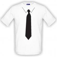 c90ec7fa7d0 T-shock tričko s potiskem Černá kravata s límečkem pánské bílé
